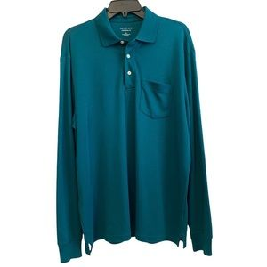 Lands' End Traditional Fit Supima Cotton Long Sleeve Polo Men's Large 42-44